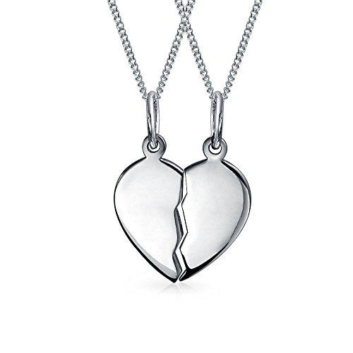 [ブリング・ジュエリー] Bling Jewelry 純銀スターリングシルバー925製 スプリットハート 割れたハート ペンダント ペアネックレス 40cm [インポート]