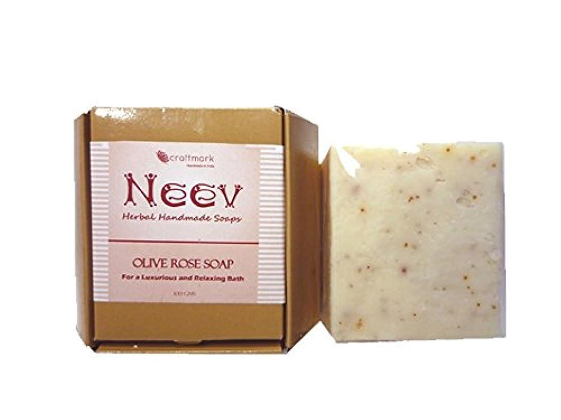繊維鉱石病気だと思う手作り ニーブ OL ローズ ソープ NEEV Herbal OLIVE ROSE SOAP