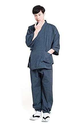 作務衣 さむえ メンズ 男性 綿 無地 紬織 日本製 久留米 ギフト 六花/ROCCA (M, グレー)