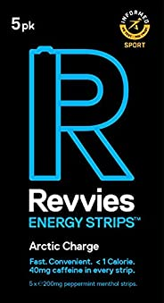 Revvies Energy Strips | Arctic Charge | 50 Strips | 40mg Caffeine Strip | 2 Strip = Coffee/Energy Drink | Less