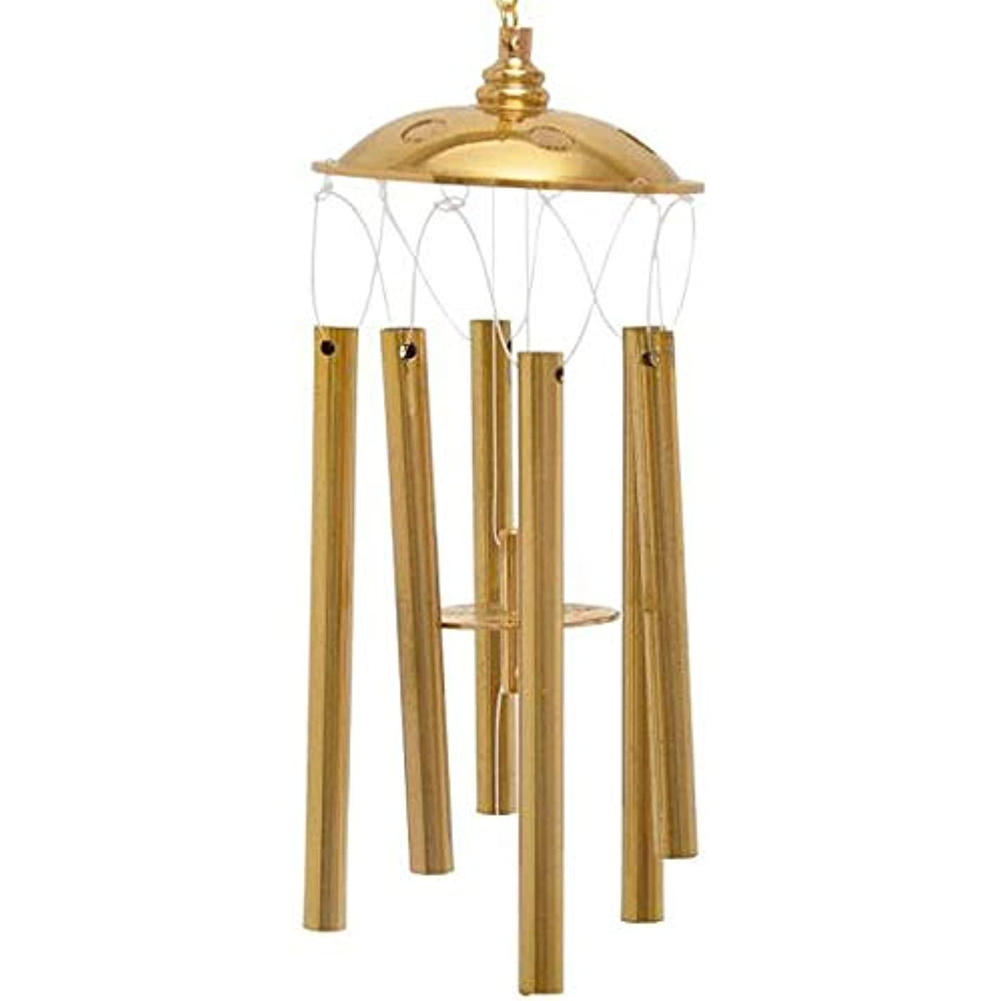 縞模様の墓地ショートJingfengtongxun 風チャイム、真鍮ホームデコレーション6チューブ風の鐘、ゴールド、全長約22CM,スタイリッシュなホリデーギフト (Size : 22cm)