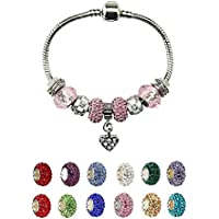 Heart Charm Bracelet with Charms for Pandora for Girls Christmas Birthday Gifts Ideas Pink