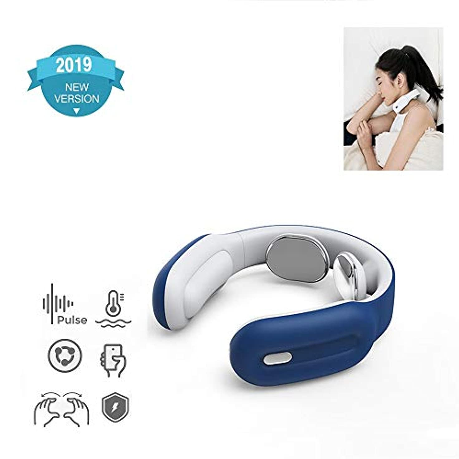明るいビート収まる背中の指圧と背中の肩のマッサージャー、スマートネックマッサージャー、背中の筋肉のための電動パルスネックマッサージャーBlue