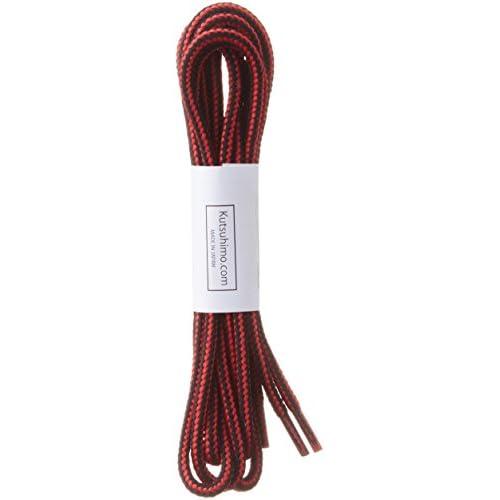 (クツヒモドットコム)靴ひも.com ワークブーツ用靴紐・赤×黒(約4mm) 120cm ひも先加工-クリア(透明)セル