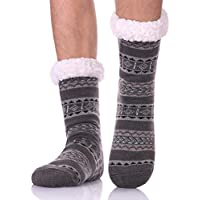 LANLEO Men's Fuzzy Ripple Slipper Socks Super Soft Warm Fleece Lining Knit Non Slip Winter Socks