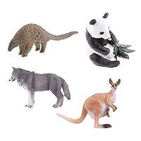 F Fityle 4本 動物 模型 ミニ 子供 教育認知 プラスチック 人気動物 パンダ/カンガルー/パンゴリン/オオカミ