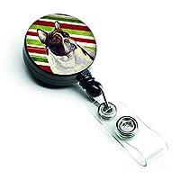 Caroline 's TreasuresフレンチブルドッグCandy Cane Holidayクリスマス格納式バッジリール、マルチカラー( lh9247br )