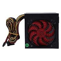 高性能600W最大ゲーミングPCシャーシ電源ファン実際の400Wスマートコンピュータデスクトップ電源-黒と赤
