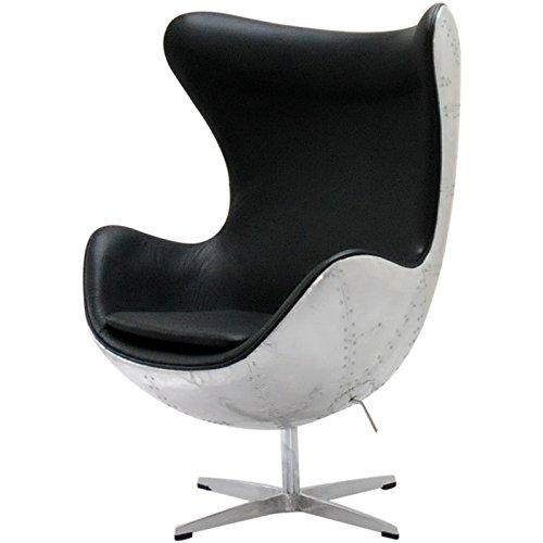エッグチェア アルネヤコブセン アルミ外装 レザー仕様 ブラック sofa ソファ ソファー