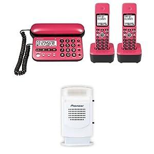 Pioneer デジタルコードレス電話機 子機2台付き チェリーピンク TF-SD15W-CP + Pioneer 電話機アクセサリー フラッシュベル ホワイト TF-TA21-W セット 【国内正規品】