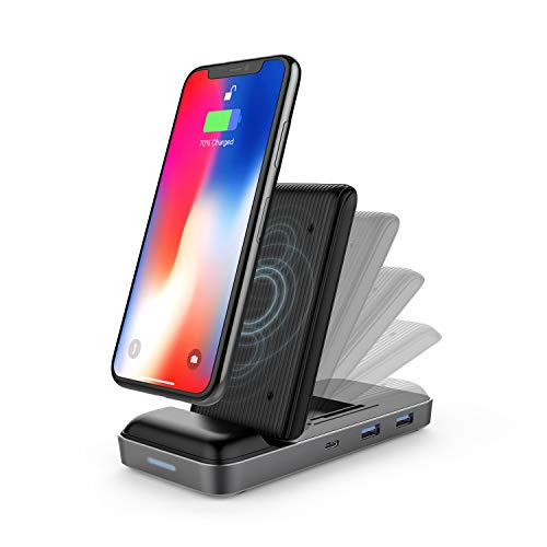 HyperDrive USB-Cハブ ワイヤレス充電器 スタンド 8in1 USB-C Hub + Qi Wireless Charger Stand Qi対応 急速 ハイパードライブ【日本正規品】