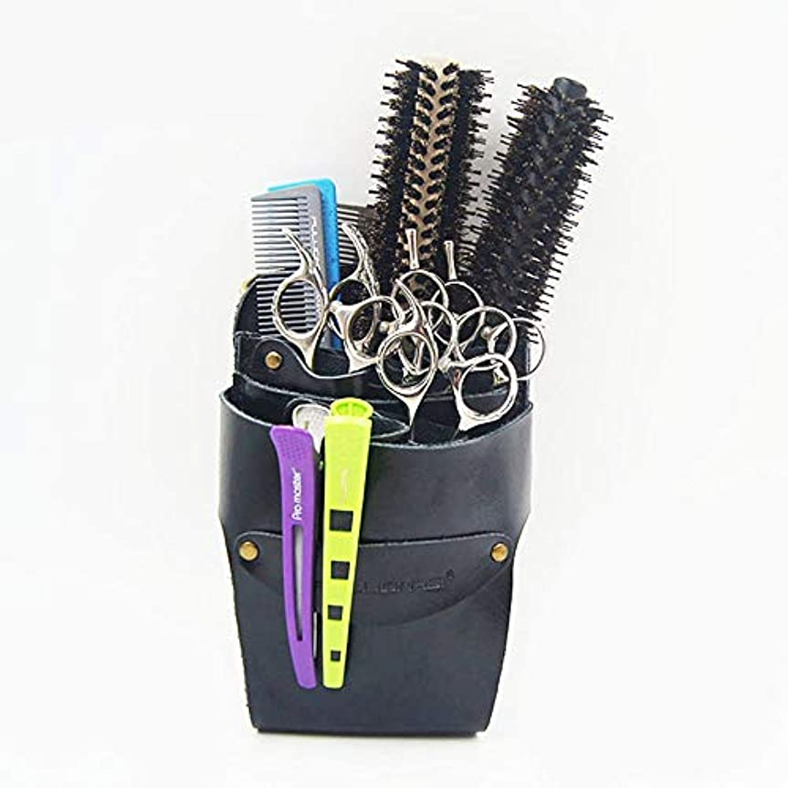 締め切りケーブルカーボイコットプロの美容師レザーウエストベルト複数ポケット髪はさみSheポーチ モデリングツール (色 : 黒)