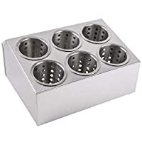Thaweesuk Shop 6穴ステンレススチールフラットウェアホルダー シリンダー6個付き 商用銀食器セット