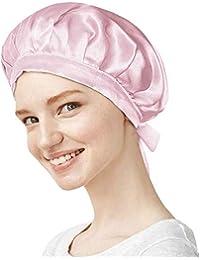 【美容のプロ推薦】天然シルク100% ナイトキャップ ロングヘア対応 コーム付き クリームシルク (ピンク, M)