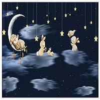 山笑の美 北欧のミニマリストの手描き漫画のウサギの空の夜の子供部屋の背景の壁布カスタム壁紙壁画-200X150CM