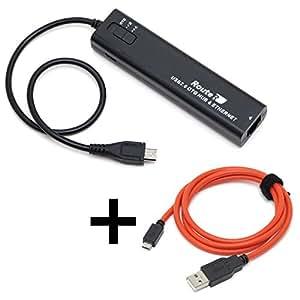 ルートアール 有線LAN搭載 3ポート充電OTGハブ + microUSBケーブル1.0m RUH-OTGU3E+C