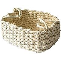 手織り厚手コットンロープバスケットデスクトップキースナックおもちゃ収納バスケット、ベージュ