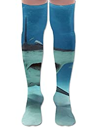 ソフト 65CM 靴下 オーバーニー ハイソックス ロングニーハイ 口ゴムゆったり ビジネスソックス ハンマーヘッド サメ 親指 3Dプリント 防寒 フットサポート付き カジュアル 美脚 脚長効果抜群 柔らかい