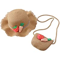 Toyvian 1Set Girls Straw Hat Cross Body Bag Strawberry Carrot Summer Beach Hat for Baby Girls Kids Children Toddlers (Khaki)