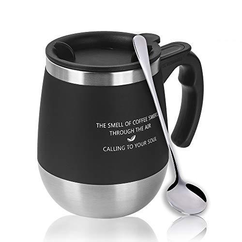 マグカップ 保温 Oncezytime 真空断熱タンブラー ふた付き 二重構造 携帯マグ 水筒 304ステンレス 450ML 軽量 使い勝 手良い 全4色 (ブラック)