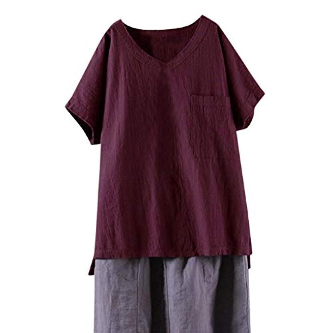 夏の緩い女性のコットンリネンヴィンテージソリッドVネック半袖トップス - カジュアルレディースポケットTシャツドレスサイズS-2 XL (ワインレッド, L)