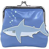がま口 財布 口金 小銭入れ ポーチ さめ フカ 海 魚 Jiemeil バッグ かわいい 高級レザー レディース プレゼント ほど良いサイズ