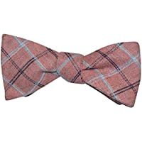 Bow Tie Self Tie Bowtie Casual Cotton Pink Light Blue White Plaid Adjustable