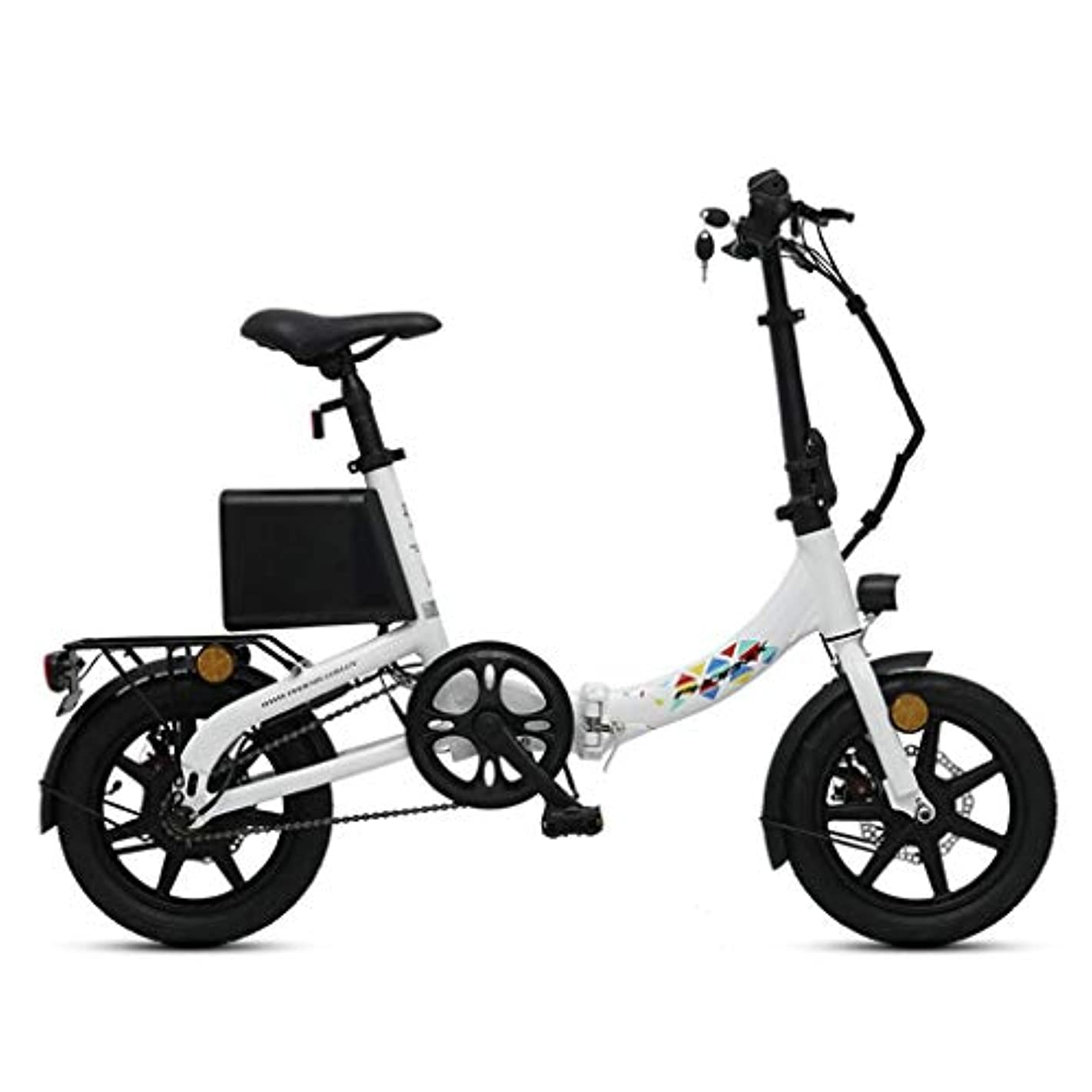 恐ろしい名詞骨の折れる折りたたみ電動自転車14インチスマートアルミ合金電池車小さなリチウム電池自転車、パワーライフ55-60km (Color : WHITE, Size : 126*55*92CM)