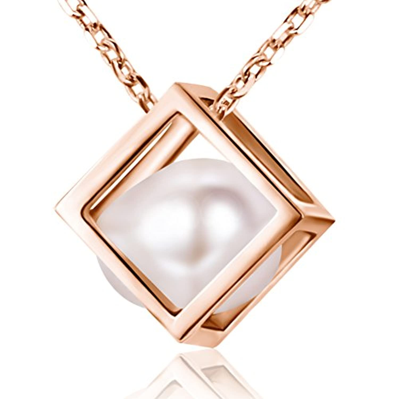Tinysand ネックレス パールペンダントネックレス キューブ ピンクゴールド 淡水 真珠 首飾り レディース ジュエリー プレゼント