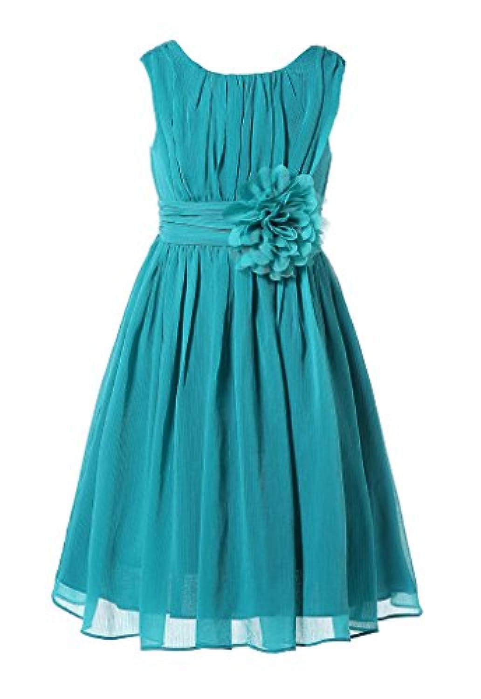Bow Dream ガールズドレス 女の子ドレス ワンピース 帯に花付き フォーマルドレス シフォン 発表会 演奏会 結婚式の介添え ページェント