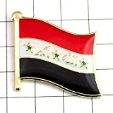 限定 レア ピンバッジ イラク 国旗 デラックス 薄型 キャッチ 付き 星 アラビア語 ピンズ