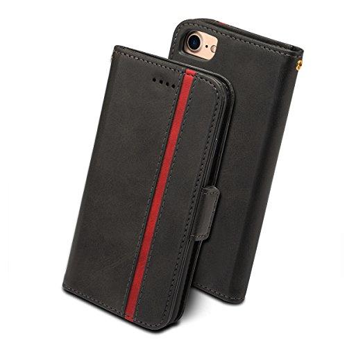 iPhone8 ケース 手帳型 iPhone7 iphone6s - Rssviss アイフォン6 6s 7 8 四機種対応 サイドマグネット カード収納 Qi充電対応 横置き機能 ストラップ通し穴 高級PUレザー (iPhone6/6s/7/8に対応) W5 ブラック4.7inch