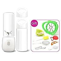 AHATECH ジューザー 充電式 フルーツしぼり器 小型 ポータブル 果物ミキサー ミニジューサー 家庭用 アウトドア ダブル蓋 ダブルコップ 多機能 桜 ギフト付き 450ML ホワイト