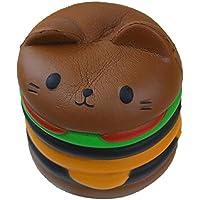 応力Reliever、woshisheiジャンボCartoon Catハンバーガー香りつきSlow Rising Exquisite Kidソフトおもちゃギフト 9.5*8.5cm ピンク WSS-9527