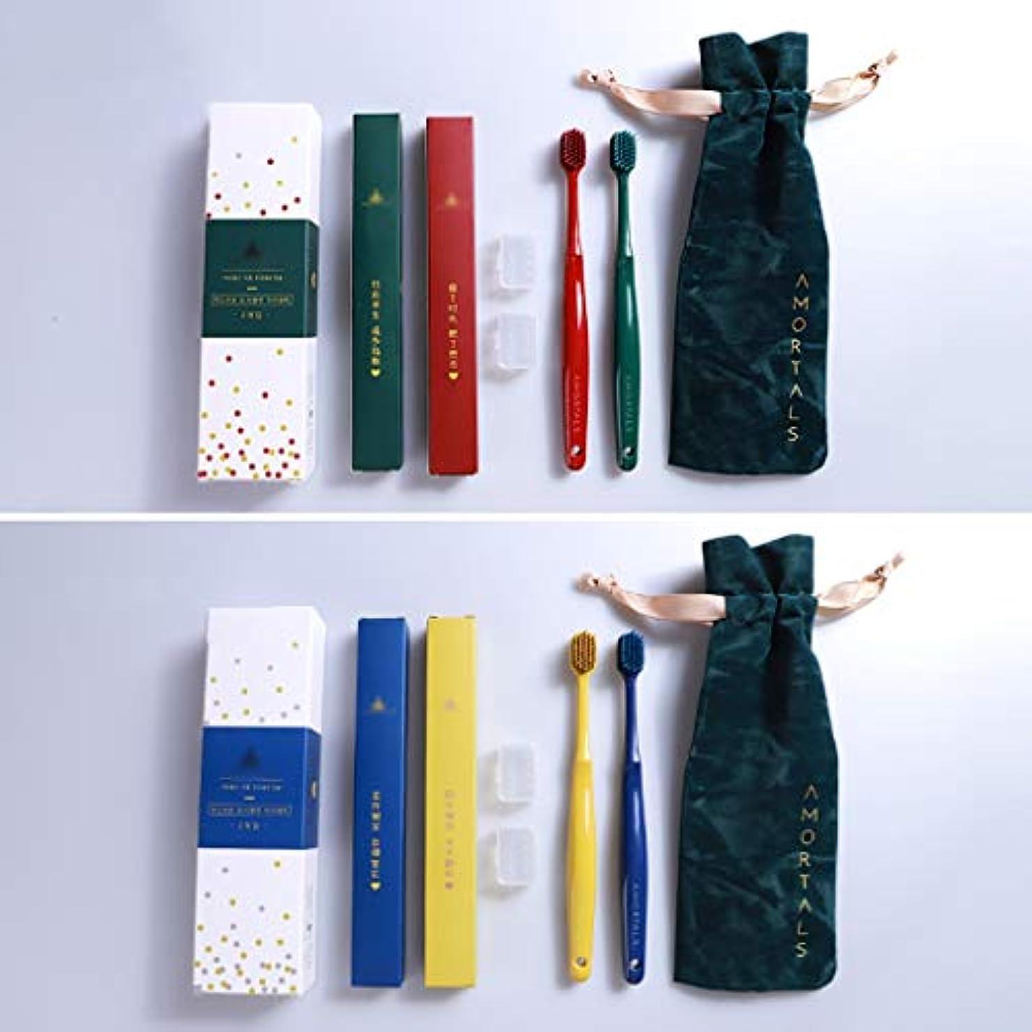 ジェスチャー配管工センター竹炭歯ブラシ、大人の家庭用4スティック歯ブラシ