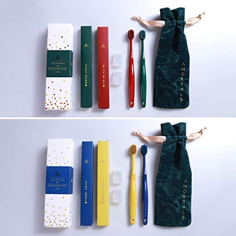 ショット尊敬キャプテン竹炭歯ブラシ、大人の家庭用4スティック歯ブラシ