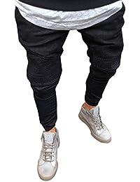 Karchi メンズ ジーンズ スキニーデニム 気質UP 着痩せ 無地 スウェットパンツ ストレッチ ブーツカット スウェットデニム アメカジ サーフ系 ビター系 デニムパンツ パッチワークリペア加工スキニーアンクル