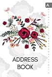 Address Book: 6x9 Medium Contact Notebook Organizer with A-Z Alphabetical Tabs | Large Print | Colored Flower Arrangement Design White