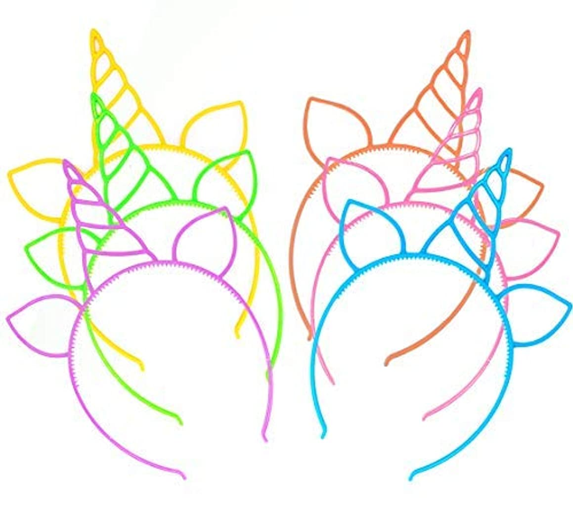 動力学熟練した側面12 Pcs Unicorn Headbands Theme Birthday Party Favor Supplies Gift Costume [並行輸入品]