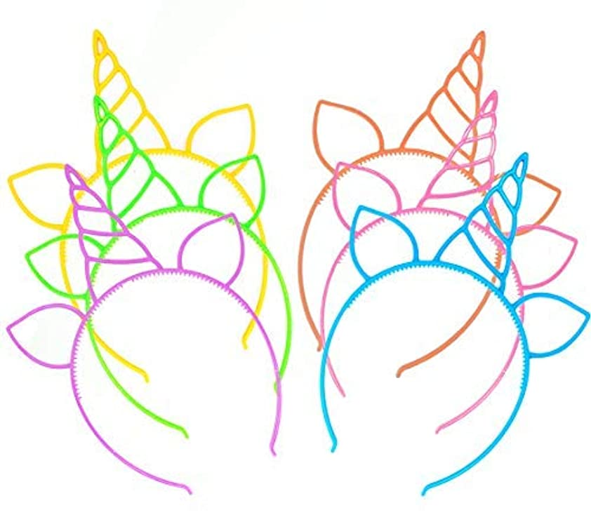 振る舞い自伝溶融12 Pcs Unicorn Headbands Theme Birthday Party Favor Supplies Gift Costume [並行輸入品]
