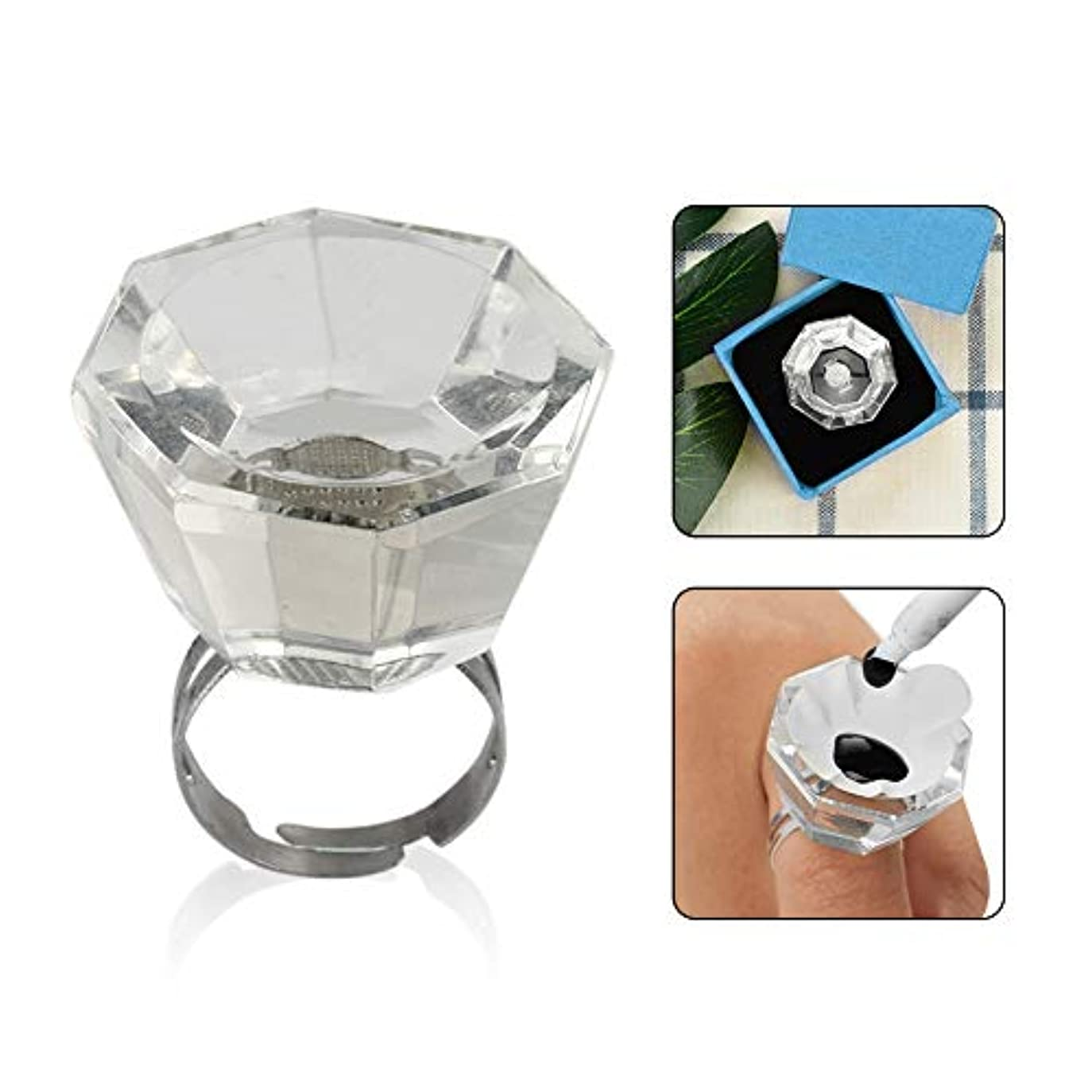 周辺以降反乱Murakush 顔料カップ 指輪 移植まつげ ガラス リングカップ 調整可能