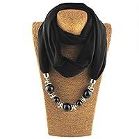 Kofun 女性のスカーフ, レディースネッカチーフリングスカーフネックレスビーズソリッドカラージュエリーショール 黒