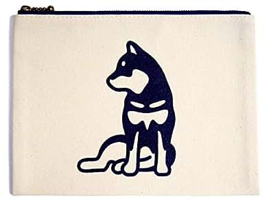[ゆる波] 黒柴犬 ポーチ 小 【横座り】 犬 グッズ 雑貨 オリジナル]