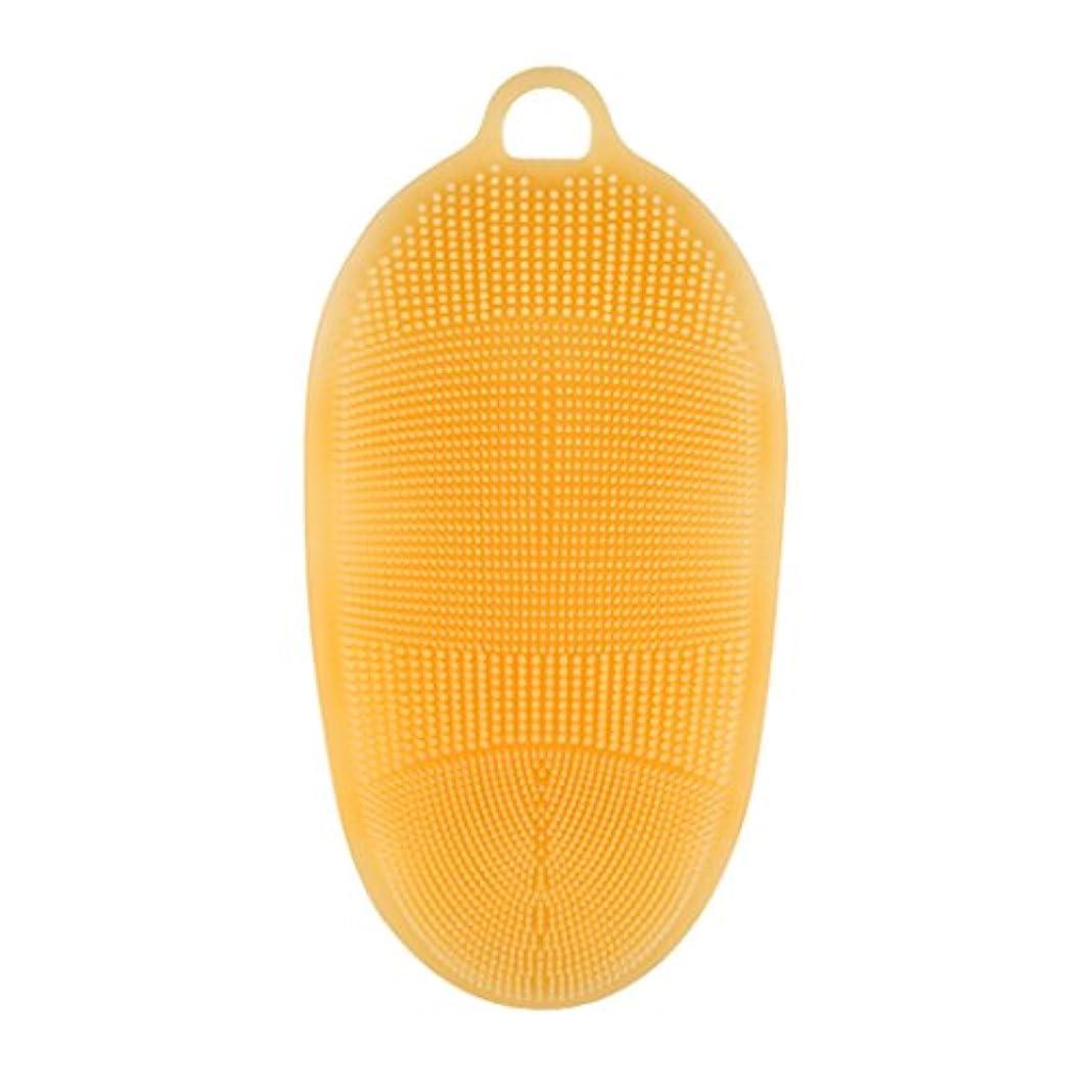 挑む求める機密Kapmore シリコンブラシ ウォッシュ ボディブラシ 多機能 マッサージ シャワー 肌にやさしい 垢擦り 体洗い 風呂 フットケア 4色選択可能 衛生 角質取り 毛穴清潔 泡立ち (オレンジ)