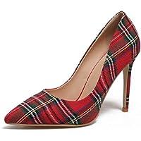 Women's Plaid Pumps Shoes Stiletto Pumps for Women red Scottish high Heels Big Size 45