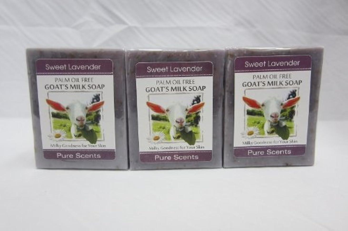 批評トレイル写真撮影【Pure Scents】Goat's Milk Soap ヤギのミルクせっけん 3個セット Sweet Lavender スイートラベンダー
