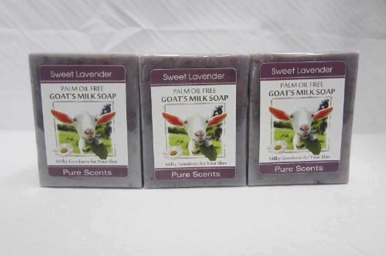 陰謀賞賛するペチュランス【Pure Scents】Goat's Milk Soap ヤギのミルクせっけん 3個セット Sweet Lavender スイートラベンダー