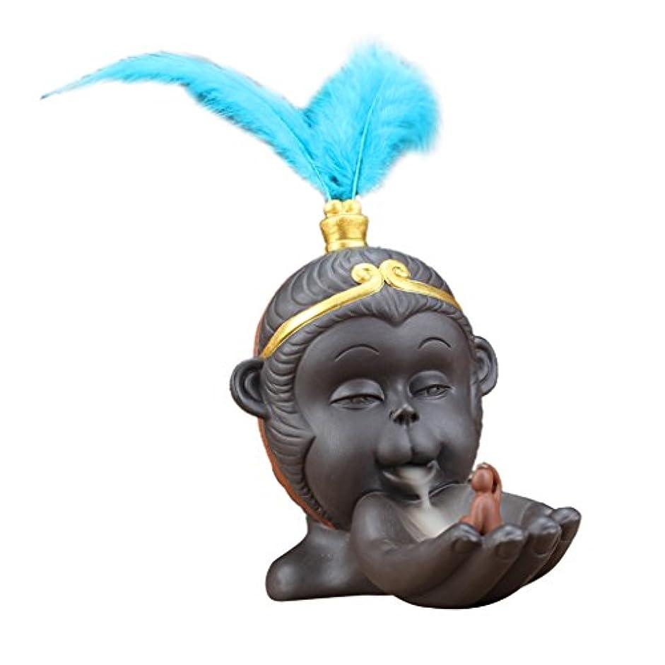 硫黄ブレーキ電気的Homyl ヴィンテージ 仏教 香炉 バーナーホルダー 逆流コーン 香バーナー 全2色 - 青