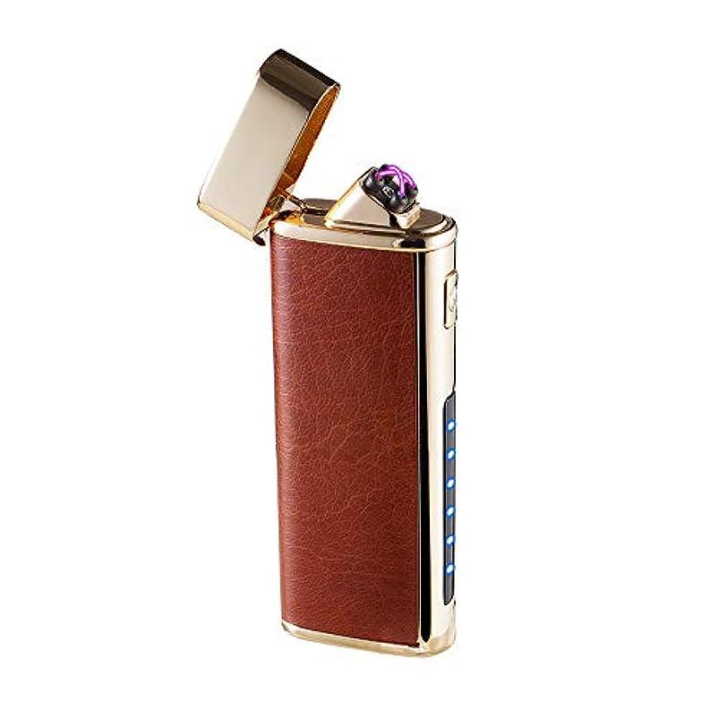 追い付く冷凍庫ありがたいデュアルアークライター 懐中電灯機能付き ダブルアークライターUSB充電式防風フレームレスプラズマ電子シガーキャンドルタバコに適したガスなし (Coffee-Gold)