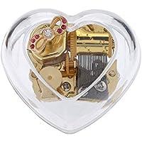 Lefo heart-shapeクリエイティブ透明アクリル18-note Wind - Up Musicalボックス、ミュージカルおもちゃ Tune:Swan Lake クリア